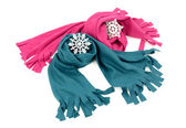 Pink and blue wool scarves nicely arranged. — Stock Photo