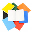Close up on various books and a opened blank notebook. — Stock Photo