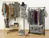 Dressing closet with animal print clothes arranged on hangers and a zebra print outfit on a mannequin. — Stock Photo