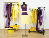 Wardrobe with complementary colors purple and yellow clothes arranged on hangers and an outfit on a mannequin. — Stock Photo