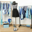 Wardrobe full of all shades of blue clothes, shoes and accessories. — Stock Photo #45818385