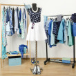 Dressing closet with blue clothes arranged on hangers. Cute summer outfit on a mannequin. — Stock Photo #45818387