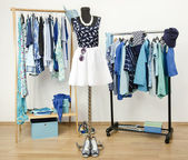 Dressing closet with blue clothes arranged on hangers. Cute summer outfit on a mannequin. — Stock Photo