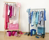 Dressing closet with pink and blue clothes arranged on hangers. — Stock Photo