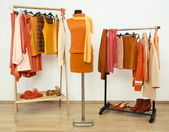 Wardrobe with orange clothes arranged on hangers and an outfit on a mannequin. — Stock Photo