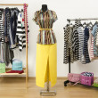 Dressing closet with striped clothes arranged on hangers and an outfit on a mannequin. — Stock Photo #46216691