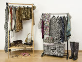 Dressing closet with animal print clothes arranged on hangers. — Stock Photo