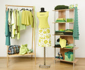 Dressing closet with green clothes arranged on hangers and shelf, neon green outfit on a mannequin. — Stock Photo