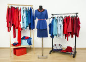 Wardrobe with red and blue clothes arranged on hangers and an outfit on a mannequin. — Stock Photo