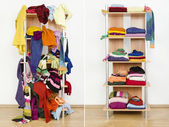 Before untidy and after tidy wardrobe with colorful winter clothes and accessories. — Stock Photo