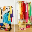 Wardrobe before messy after tidy arranged by colors. — Stock Photo #47709919