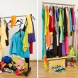 Wardrobe before messy after tidy. — Stock Photo #47709923
