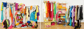 Wardrobe before messy after tidy arranged by colors. — Stock Photo