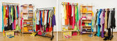 Wardrobe before nicely arranged randomly and after arranged by colors. — Stock Photo