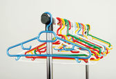 Rack of clothes with empty hangers. — Стоковое фото