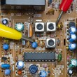 Verification testing of electronic board — Stock Photo