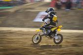Motocross bikes racing in track — Stock Photo