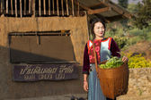 Lisu Hill tribe girl with her vegetable from garden in morning — Stock Photo