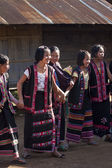 Lahu tribe women traditional ceremony dance in village, Doi Pum — Stock Photo