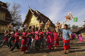 Karen tribes in ceremony at temple — Stock Photo
