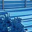 Stack of blue pvc pipes — Stock Photo
