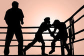 Silhouette boxing fight — Stock Photo