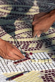 The installing mosaic ceramic tiles — Stock Photo