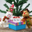 Snowman With Christmas Gift — Stock Photo