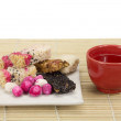Chinese tradition candy with tea — Stock Photo #18608631