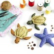 Starfish, turtle doll made of cloth. — Stock Photo