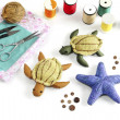 Starfish, turtle doll made of cloth. - Stock Photo