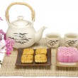 Moon cake two size with tea — Stock Photo