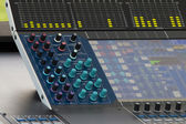 Control knobs ofdigital sound mixer panel — Stock Photo