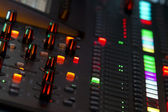 Sound mixer panel in concert — Stock Photo