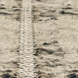 Stock Photo: Tire tracks on dirt