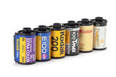 Kodak film rolls ,Type of slide ,nagative and bw film — Stock Photo