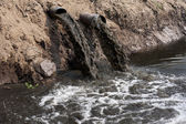 Water pollution in river because industrial not treat water before drain — Foto de Stock