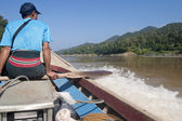Cargo boat in salween river at border of Thailand and Myanmar. — Stock Photo