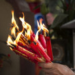 Candles on chinese new year in temple — Stock Photo