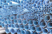 PVC pipes stacked in construction site — Zdjęcie stockowe