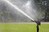 Sprinkler head watering the sport lawn — Stock Photo