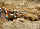 Fall of rider motocross — Stock Photo