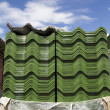 Stock Photo: Tile roof stack in construction site