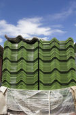 Tile roof stack in construction site — Stock Photo