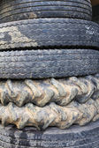 The old tires of truck and tractor — Stock Photo
