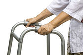 Asian senior woman using a walker — Stock Photo