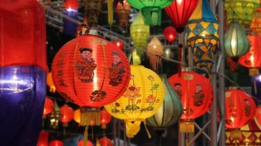 Aziatische lantaarns in lantaarn festival — Stockvideo