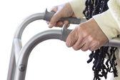 Senior woman using a walker — Stock Photo