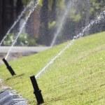 Sprinkler head watering in park. — Stock Photo