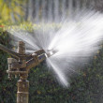 Sprinkler head watering in the park — Stock Photo